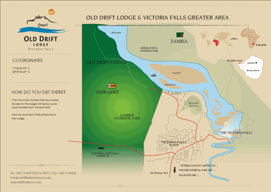 Map of Old Drift Lodge location in relation to Victoria Falls