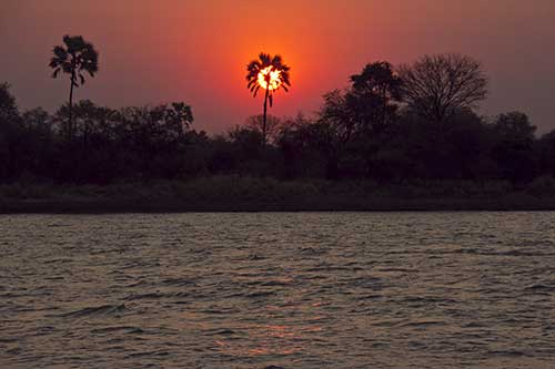 A beautuful sunset on the Zambezi River