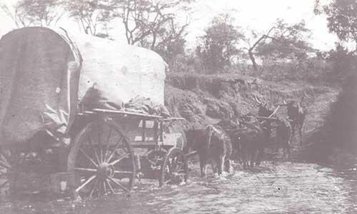 Wagon crossing the Zambezi river