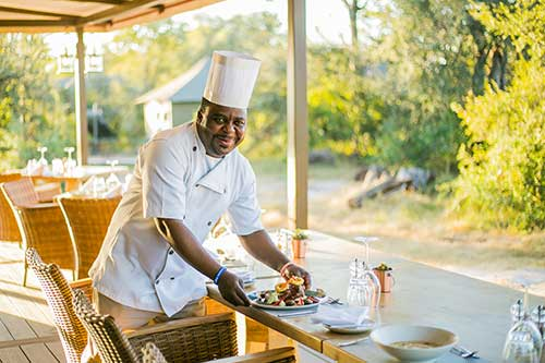 Fine cuisine at the Old Drift Safari Lodge