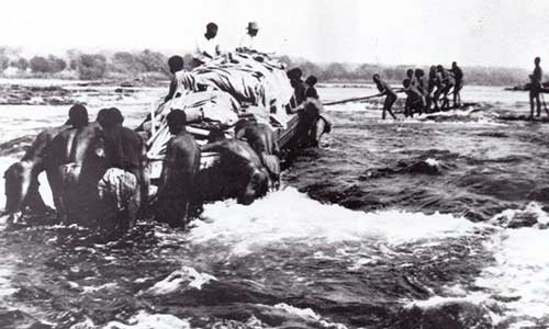 Wagon crossing the Zambezi river